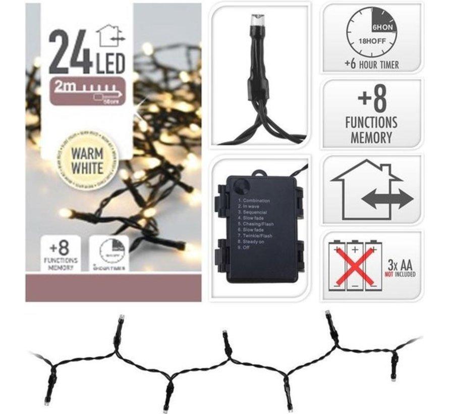 Ledverlichting 24 Warm Wit (excl batterijen) op timer met 8 functies