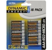 Dynamic Energy Batteries Aaa R03 Ultra-Zink 16 Stück