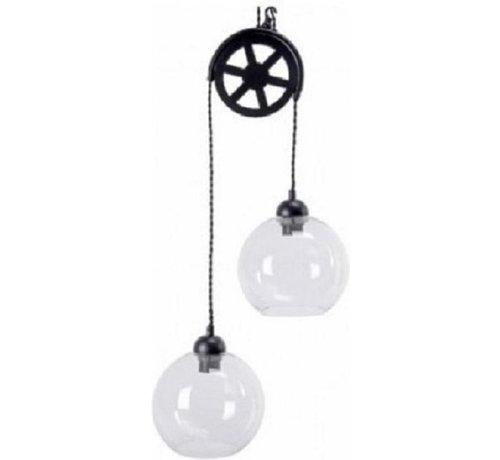 Glaslampe aus LUMINEO mit Riemenscheibe, 77,5 cm