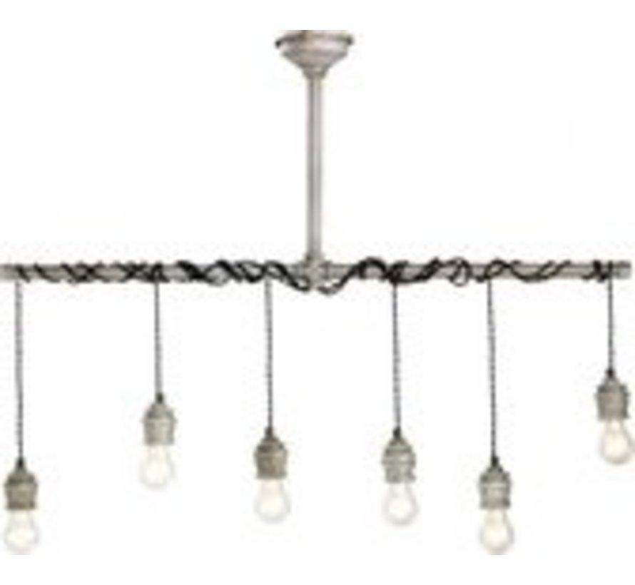 Lumineo ijzeren Hanglamp – Industriële Hanglamp – Hanglampen Eetkamer – Industrieel –108cm breed – Grijs