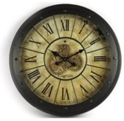Clock - Gear - Vintage - Glass - Metal - Ø 80cm - black