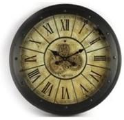 Uhr - Gang - Vintage - Glas - Metall - Ø 80 cm - schwarz