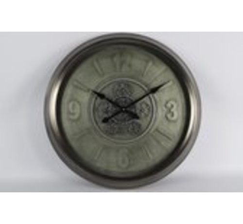 Clock - Wanduhr - Kettenräder - Ø 63cm - Metall - Industrie - Grau