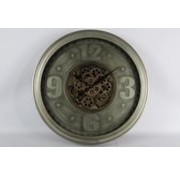 Clock - Wanduhr - Kettenräder - Ø 71cm - Metall - Industrie - Bronze