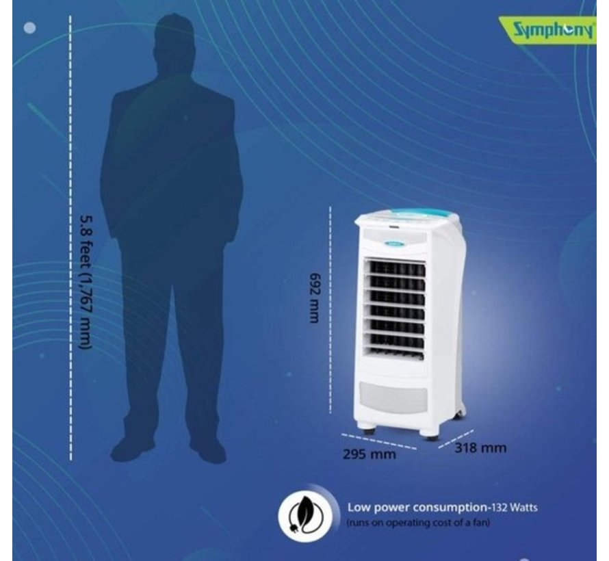 Symphony Silver-I draagbare Air Cooler / Luchtkoeler / Ventilator 680m²/h
