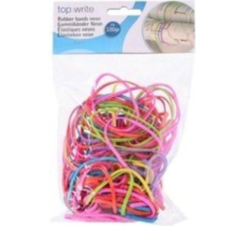 Dunne elastiekjes in neon kleuren 130 stuks