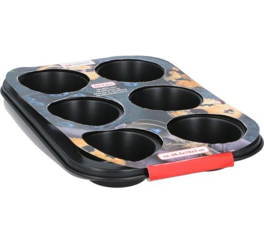 Alpina Bakeware Muffin Stahl 26,5 x 18 cm Schwarz