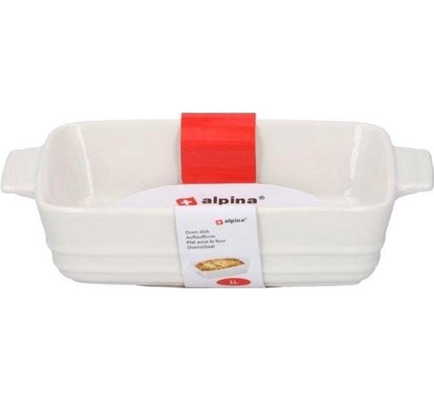 Alpina Ovenschaal 1 Liter Keramiek Wit