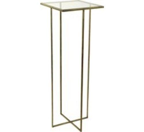 Decostar Beistelltisch - Metall - Glas - L35, B35, H100cm - Bronze