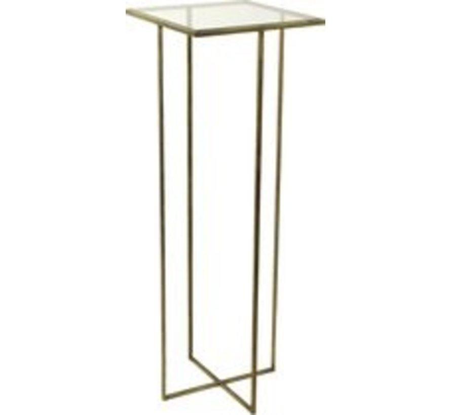 Beistelltisch - Metall - Glas - L35, B35, H100cm - Bronze