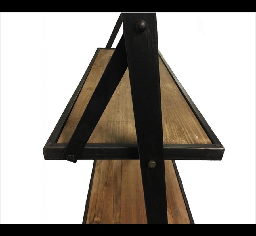 Decostar Wandrek Mano met 4 houten planken en metalen frame | Hoogte 197 cm