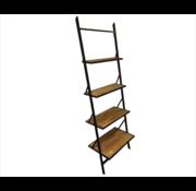 Wandrek Mano met 4 houten planken en metalen frame