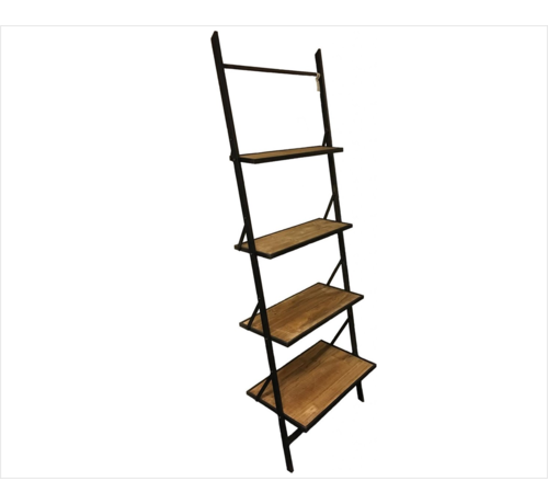 Decostar Decostar Mano Shelf with 4 wooden planks and metal frame   Height 197 cm