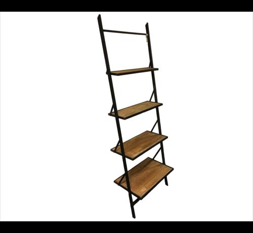 Decostar Decostar Wandrek Mano met 4 houten planken en metalen frame | Hoogte 197 cm