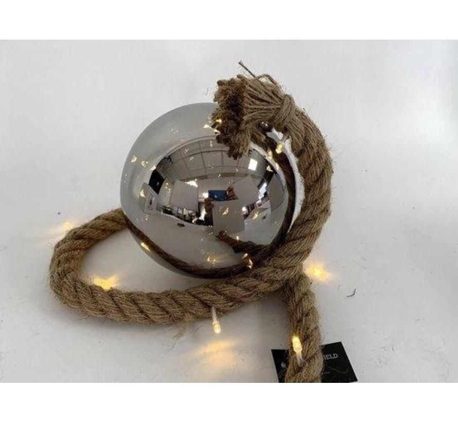 Kerstverlichting / Kerstbal met LED Ø15 cm · Rahel Zilver · hangt aan decoratief touw 95 cm