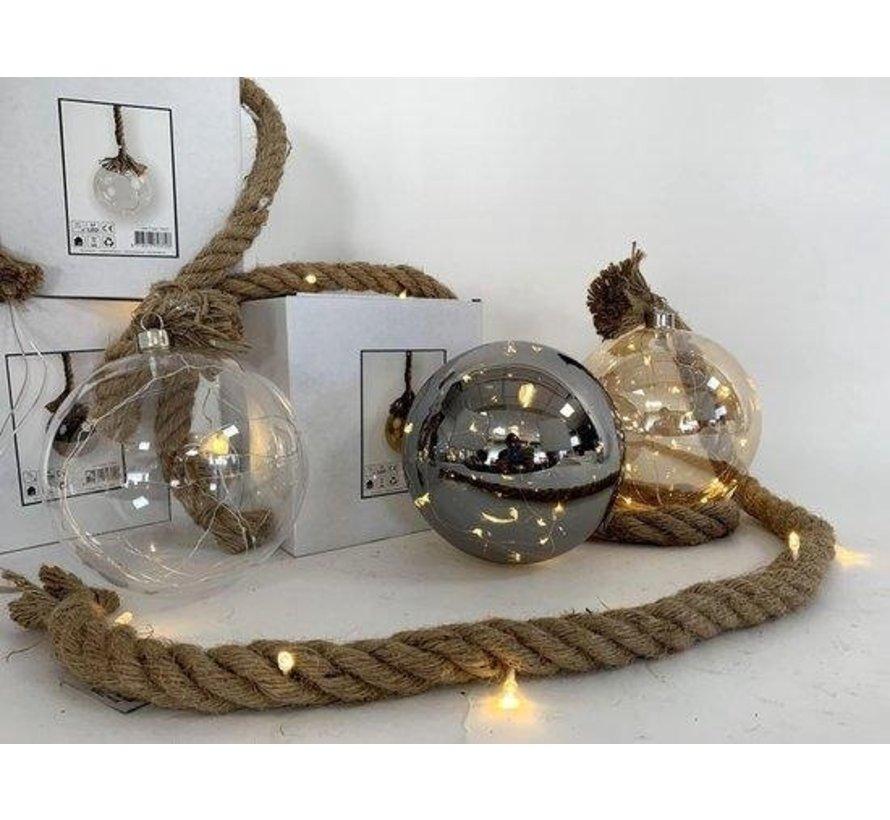 Kerstverlichting / Kerstbal met LED Ø20 cm · Rahel Zilver · hangt aan decoratief touw 95 cm