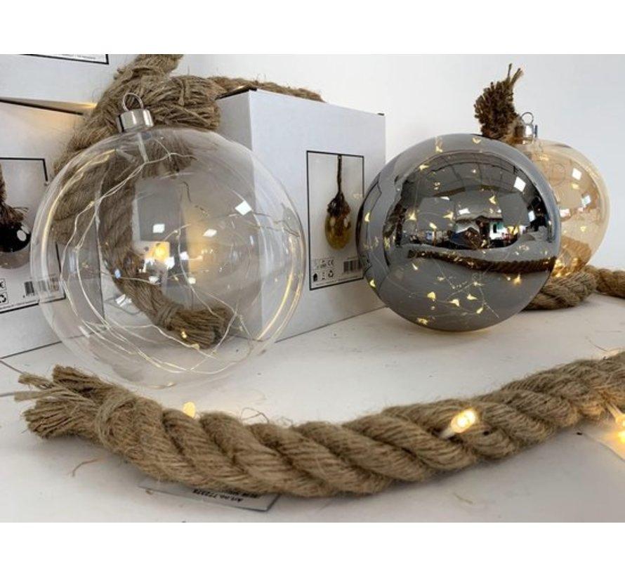 Kerstverlichting / Kerstbal met LED Ø12 cm · Rahel Glashelder · hangt aan decoratief touw 95 cm