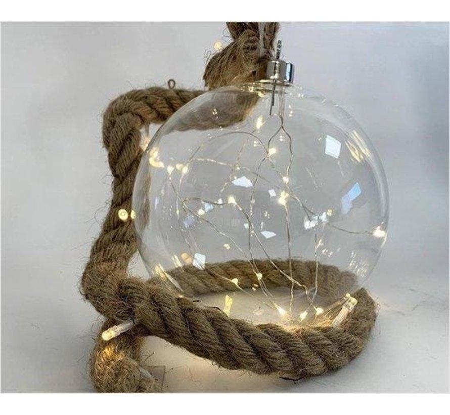 Kerstverlichting / Kerstbal met LED Ø20 cm · Rahel Glashelder · hangt aan decoratief touw 95 cm