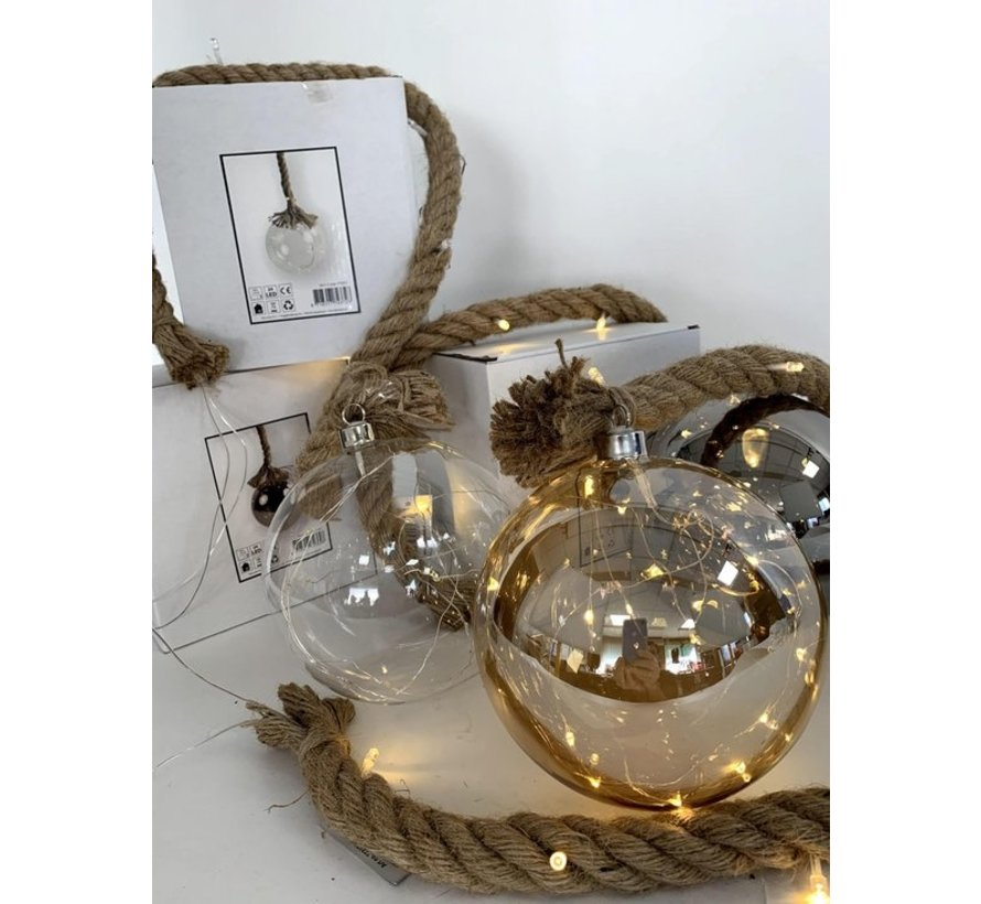 Christmas Lights / Christmas LED Ø12 cm Rahel · Gold · hangs on decorative rope 95 cm