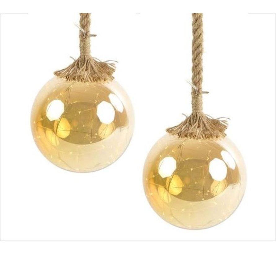 Christmas Lights / Weihnachts LED Ø12 cm Rahel · Gold · hängt an dekorativen Seil 95 cm