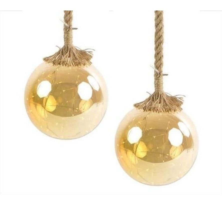 Kerstverlichting / Kerstbal met LED Ø15 cm · Rahel Goud · hangt aan decoratief touw 95 cm