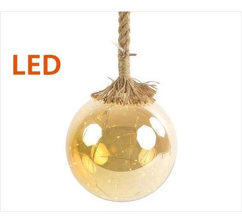 Decostar Kerstverlichting / Kerstbal met LED Ø15 cm · Rahel Goud · hangt aan decoratief touw 95 cm