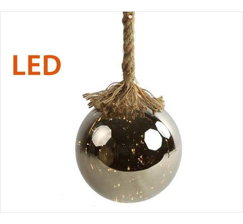 Decostar Christmas Lights / Christmas LED Ø12 cm Rahel · Silver · hangs on decorative rope 95 cm