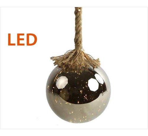 Decostar Kerstverlichting / Kerstbal met LED Ø12 cm · Rahel Zilver · hangt aan decoratief touw 95 cm