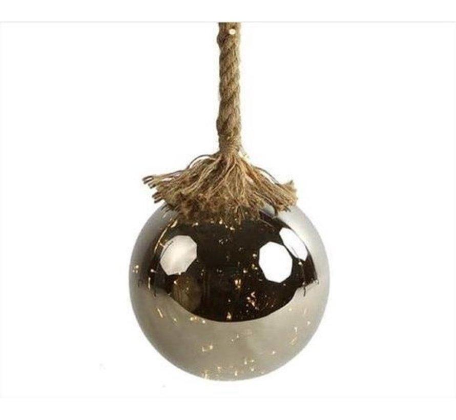 Kerstverlichting / Kerstbal met LED Ø12 cm · Rahel Zilver · hangt aan decoratief touw 95 cm