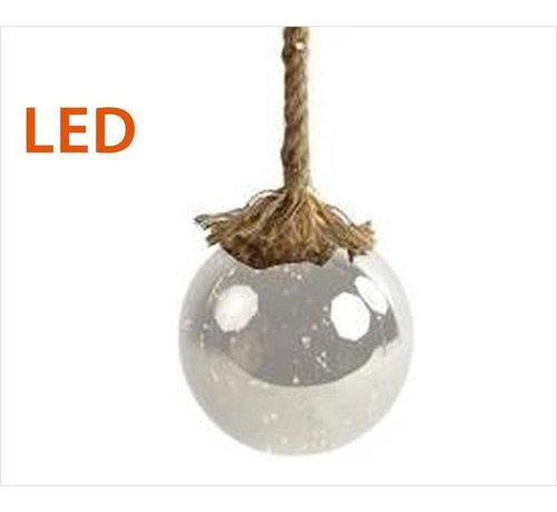 Decostar Kerstverlichting / Kerstbal met LED Ø12 cm · Rahel Glashelder · hangt aan decoratief touw 95 cm