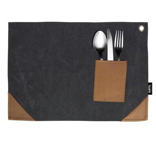Placemat zwart met bestekvakje 45x32cm - 2 stuks