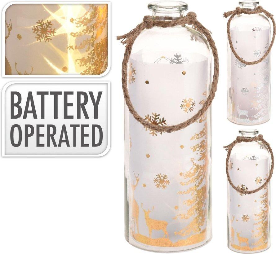 B-O Bottle With Led 31Cm goud