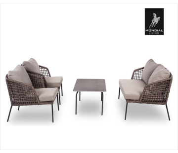 Mondial Living Lennox Lounge 4 people | 2 chairs, table and 2 seater bench