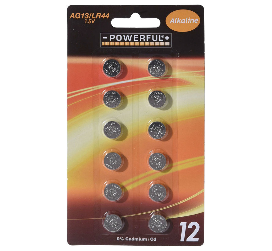 1.5V button cell AG13 / L1154 Powerful Alkaline 12 pieces in blister