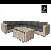 Mondial Living Loungeset / Tuinset Formentera Grijs voor 8 personen - Vuilafstotend en onderhoudsvrij - Inclusief kussens