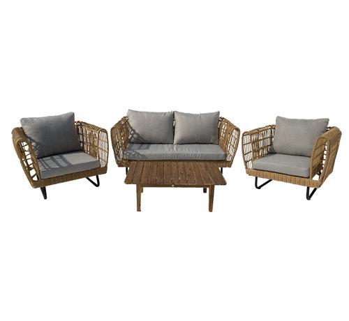 Mondial Living Loungeset Mason Bamboe   Incl. tafel