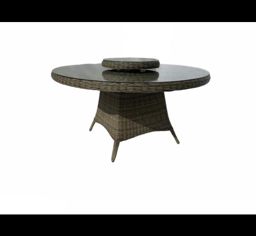 Mondial Living Tuintafel Paris Forest Grey ⌀150 cm | Glazen tafelblad
