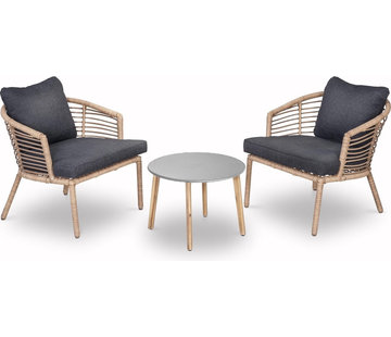 Mondial Living Lounge / Garden furniture Logan with two large chairs and round table | Including bamboo cushions