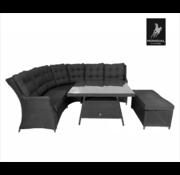 Mondial Living 7-persoons Loungeset Santino Zwart |Hoekset incl. tafel