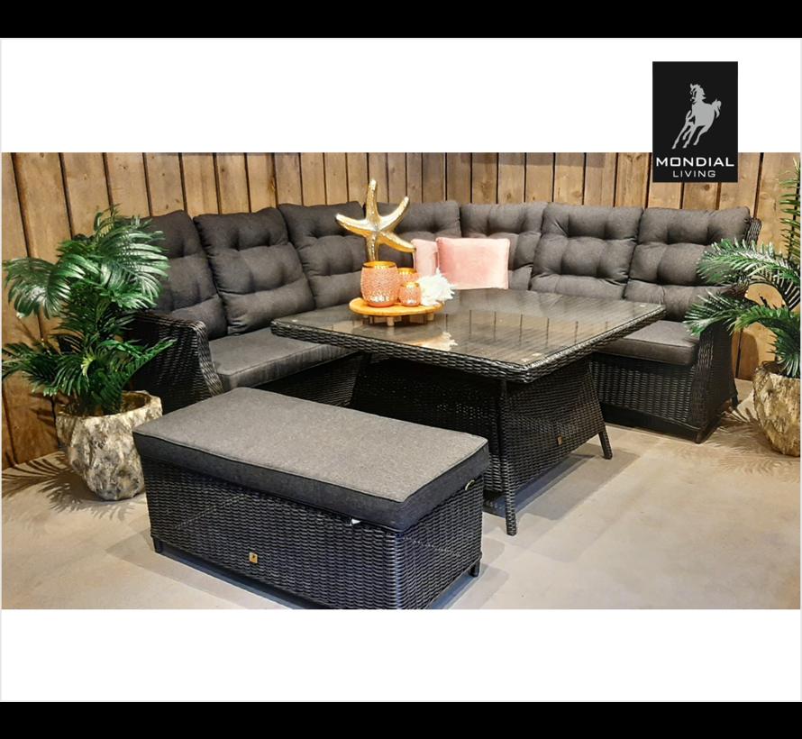 7-persoons Loungeset Santino Zwart |Hoekset incl. tafel