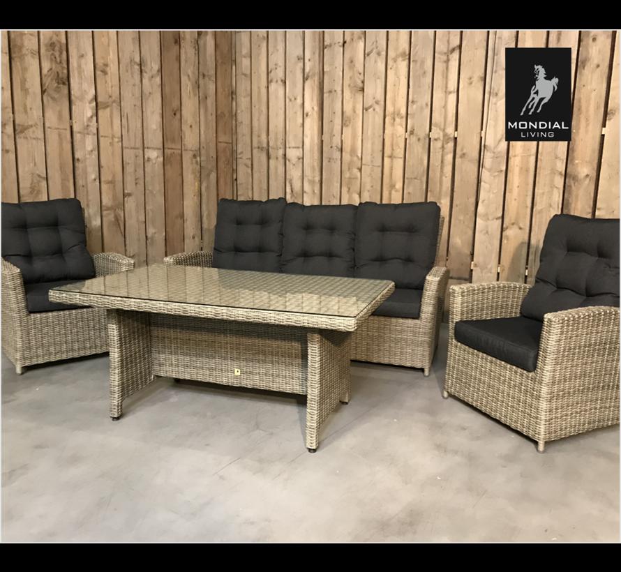 Loungeset / Sofaset Canberry Forest Grey voor 5 personen   met verstelbare rugleuning