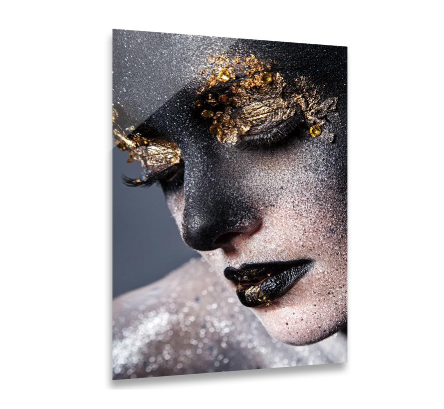ter Halle® Glasschilderij 120 x 80 cm | Gezicht Vrouw met glitters