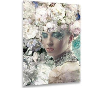 ter Halle® Glasschilderij 80 x 120 cm | Vrouw met bloemen
