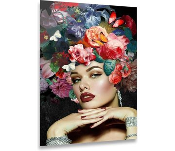 ter Halle® Glasschilderij 80 x 120 cm | Vrouw met Bloemen | Kleurrijk