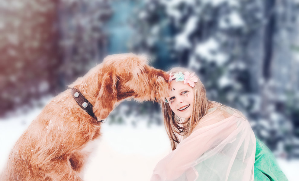 Kids and dogs fairytale photoshoot in the snow