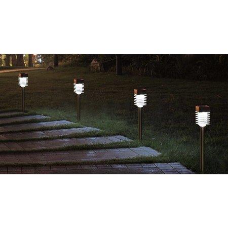 MOA Kustaa solar tuinlamp LED 'Ribbel' (Set van 4 stuks)