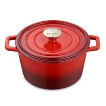 "Kustaa gietijzeren casserole pan 26cm rond ""Red/Black"""