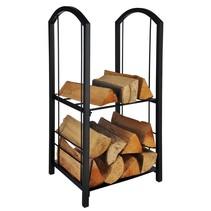 Haushalt houtopbergrek - staal - zwart - 37 x 33 x 74 cm