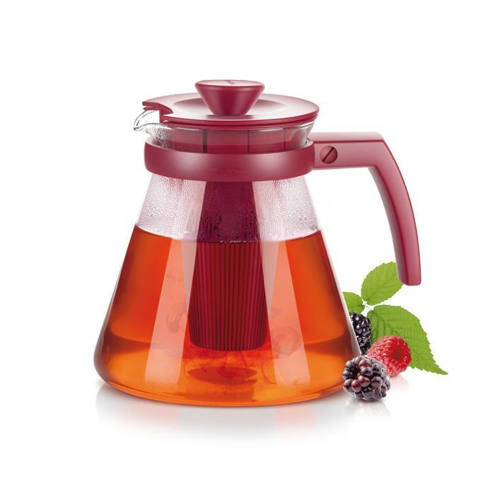 Tescoma - TE646623.20 - Theekan met filter - glas -1.25 liter - TEO TONE - rood