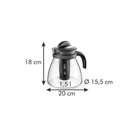 Tescoma - TE647110.44 - Theekan met infuser - glas - 1.5 liter - antraciet - Monte Carlo